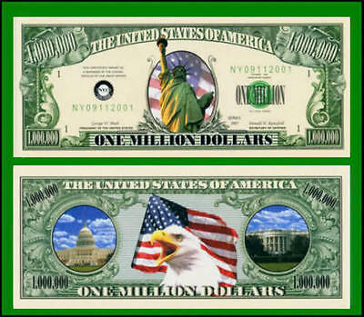 25 Factory Fresh Novelty Lady Liberty Million Dollar Bills