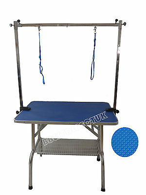 "36"" Folding Dog Grooming Table Portable Cat Pet Adjustable With 2 Arm Noose"
