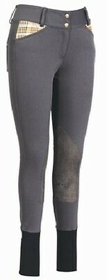 BAKER Elite Knee Patch Breeches Charcoal Grey with Baker Plaid Size 26 MSRP $99.
