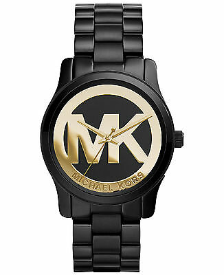 e6d203163e60 Michael Kors Mini Runway Black Gold Logo Watch 34MM MK6057 BRAND NEW  AUTHENTIC