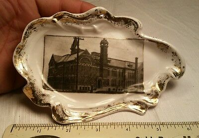 Old Antique Advertising Plate High School by Lauerman Marinette WI Wisconsin