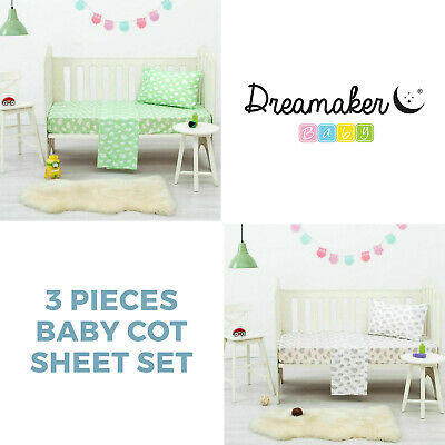 Baby Cot Bedding Crib Boy Girl Infant 3 PC Sheet Set Cloud Printed + Pillowcase