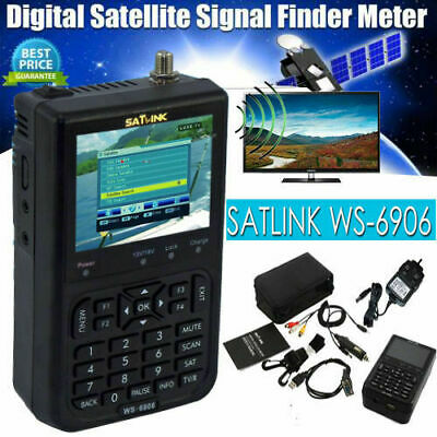 "Satlink WS-6906 DVB-S FTA Data Digital Satellite Signal Finder Meter 3.5"" LCD"