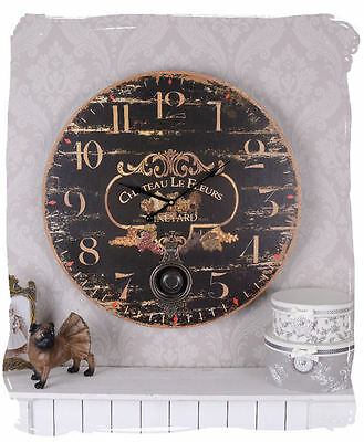 60 CM FRENCH VINTAGE KITCHEN CLOCK WALL SHABBY COTTAGE Railway station CHATEAU