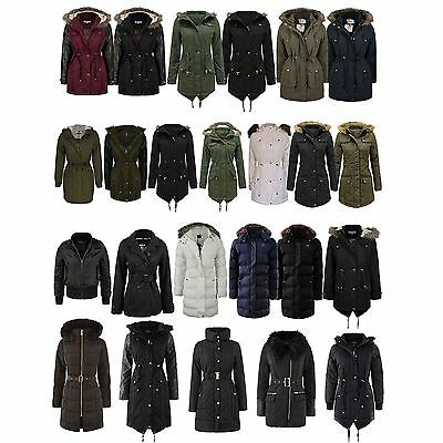 Ladies Brave Soul Winter Coat Hooded Parka Padded Womens Quilted Jacket New Size