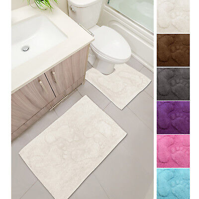 Plush Feet 2 Piece Bath & Pedestal Mat Set - 100% Cotton - Absorbent & Washable