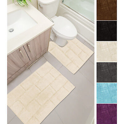 Tile Blocks 2 Piece Bath & Pedestal Mat Set - 100% Cotton - Absorbent & Washable