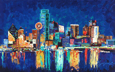 Dallas Texas Skyline Cityscape Art  Painting Expressionism Framed Canvas