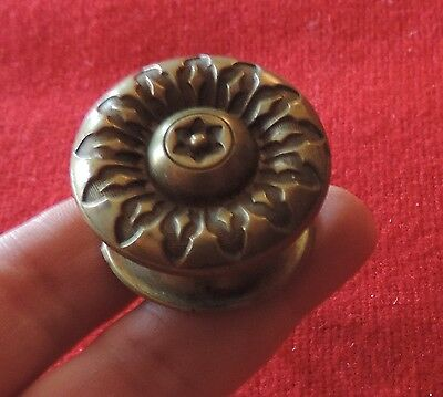 19th c. Brass Furniture Knob Drawer Pull Federal Regency Cabinet Door Latch