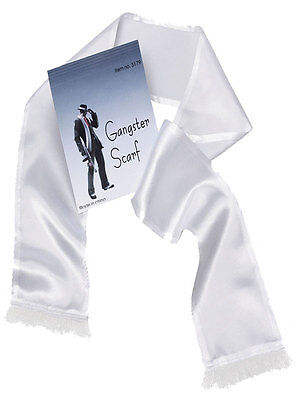 Mens 20's 30's Gangster Mob Fancy Dress Gangster Al Capone White Satin Scarf New