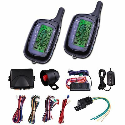 2 Way LCD Car Alarm Remote Control Engine Start Security System FM Fsk Pager Kit