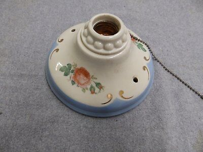 Vtg Flush Mount Porcelain Ceiling Light Shabby Floral Rose Chic Sconce 5077-15