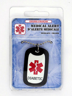 Diabetic / Diabetes (No Insulin) Medical Alert Necklace ENGLISH & FRENCH