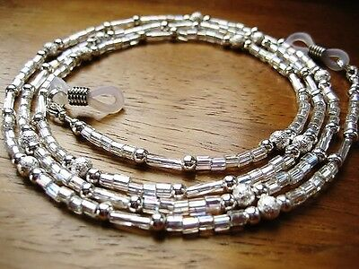 Spectacles Chain Reading Glasses Chain Cord Silver Beaded Retainer Handmade UK