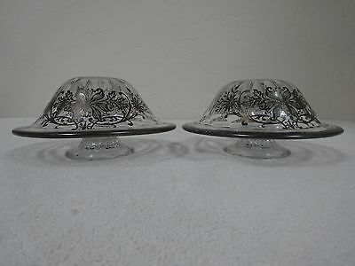 20% OFF!  Pair antique glass w/stamped STERLING silver over lay candle holders