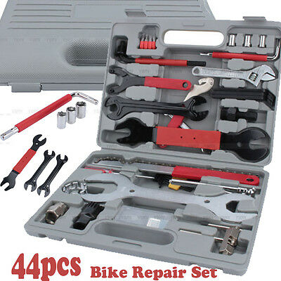 44Pc Bike Cycling Bicycle Maintenance Repair Hand Box Wrench Tool Kit Set Case