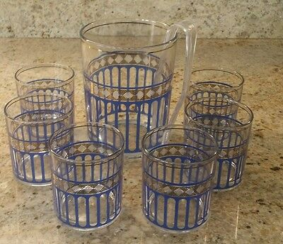 Vtg Ice Bucket Tongs & 6 Rock Glasses A&M Frangar Non Flectar, Blue & Gold Italy