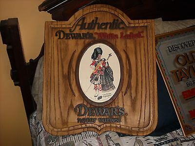 Authentic Dewar's White Label faux wood plastic advertising sign