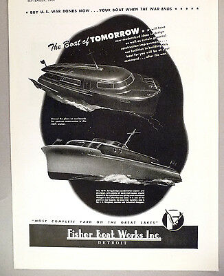 Fisher Boat Works PRINT AD - 1944 ~~ Boat of Tomorrow