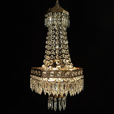 Antique Vintage Crystal Chandelier Old Ceiling Lamp Brass Lustre Lights
