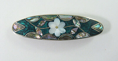 "Alpaca hair clip / barette abalone shell inlay flower desiign green 3 1/2"" long"