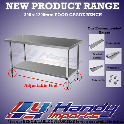 1200 x 390mm STAINLESS STEEL 304 FOOD PREP NARROW WORK BENCH KITCHEN SLIM TABLE