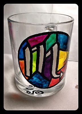 Cool colorful hand-painted glass coffee mug Zodiac Scorpio