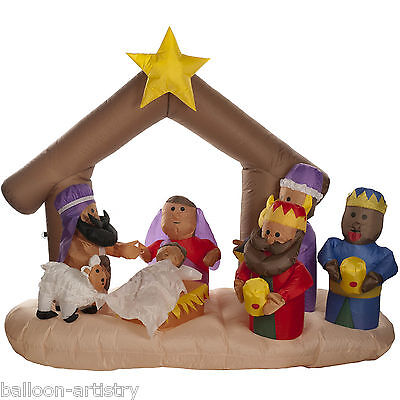 2.1m Light Up Christmas Nativity Scene Outdoor Inflatable Garden Decoration