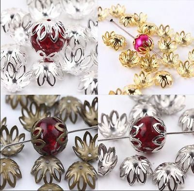 New 100/500pcs Silver/Golden Plated Flower End Beads Caps Charms Jewelry 12x5mm