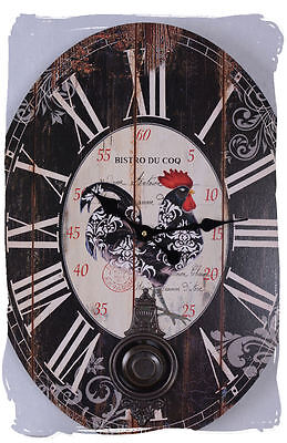 Pendulum Country House Style Wall Clock Bistro Du Coq Provence Clock • £18.78