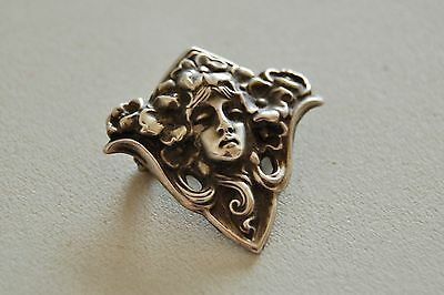 Stunning quality Art Nouveau Sterling Silver Brooch lady marked