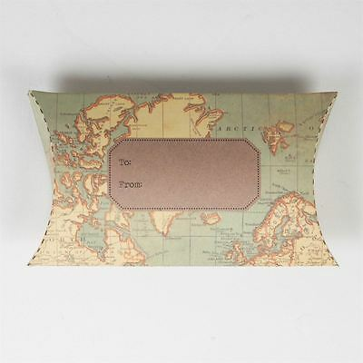 Sass & Belle Vintage Rustic Map Flat Card Pack Pillow Gift Box Christmas Present