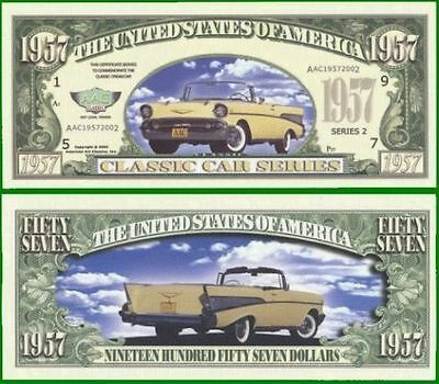 15 Factory Fresh 1957 Chevy Novelty Dollar Bills