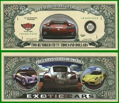 15 Factory Fresh Novelty Exotic Cars Dollar Bills
