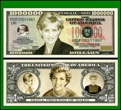 15 Factory Fresh Novelty Princess Diana Million Dollar Bills
