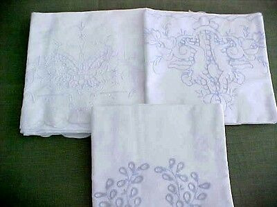 Vintage Lot of 3 Single Pillowcase  Madiera Openwork Angels All Different ESTATE