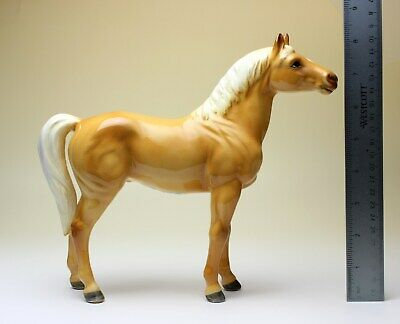 "10""Long Large Palomino Horse Standing Statue Porcelain Figurine Japan New"