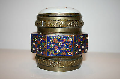 Antique Chinese Brass Tea Caddy with Porcelain Lid and Octagonal Cloisonne Decor