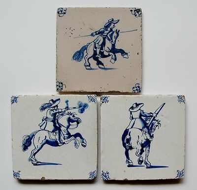 3 Antique Dutch Delft delftware tile carreaux with horseman, soldier horseback