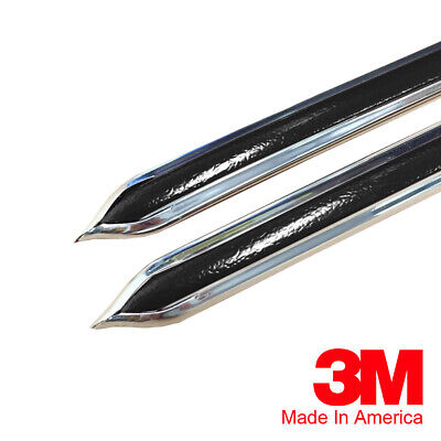 "Vintage Style 5/8"" Black & Chrome Side Body Trim Molding - Formed Pointed Ends"