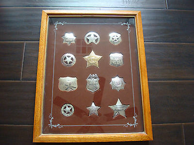 12 Rare STERLING SILVER NOVELTY MARSHAL SHERIFF OBSOLETE BADGE IN DISPLAY CASE