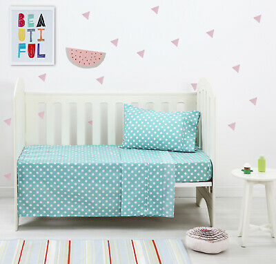 New Dreamaker Baby Bedding Crib Cot Sheet Set Easy Care Cotton Dot Child Sheets