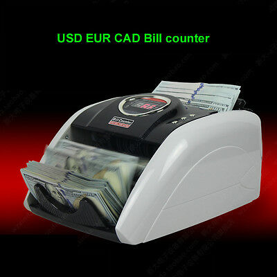 USD EUR CAD Cash Money Worldwide Currency Detector Bill UV Counter LED Display