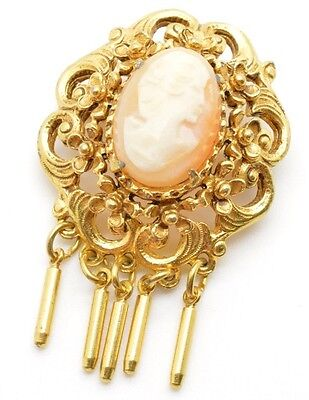 Vintage Victorian Revival Florenza Carved Shell Cameo Pin Brooch Pendant