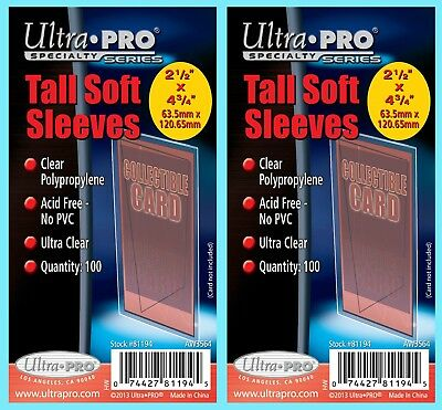 200 ULTRA PRO TALL SOFT CARD Sleeves NEW 2 Packs Widevision Gameday 81194 3x5