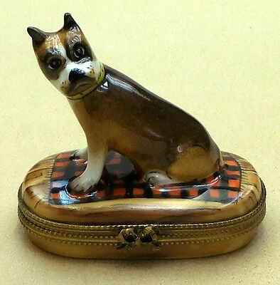 """boxer On Blanket"" - Authentic Rochard Limoges From France,  Item #25-113"