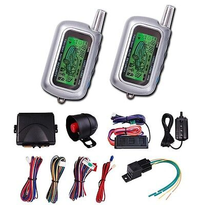 2 Way Car Alarm Security System LCD Remote Control Auto Vehicle No Engine Start