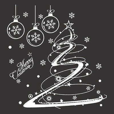Christmas Window White PVC DIY Wall Stickers Home Decals Mural Decoration