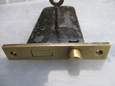 "Antique Door Lock Brass & Iron original Key ""C Greens Patent"" Defiance Vintage"