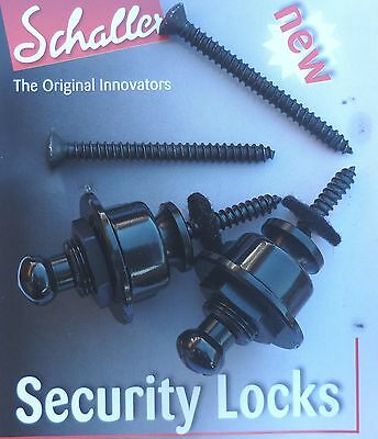 GENUINE Original Schaller Security Locks  BLACK 1446  Guitar Strap straplocks